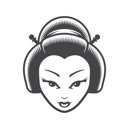 Geisha Japanese Girl Head Icon Çizim