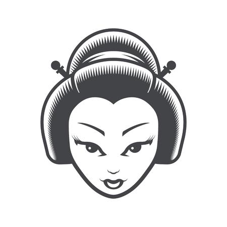 Geisha Japanese Girl Head Icon Illustration