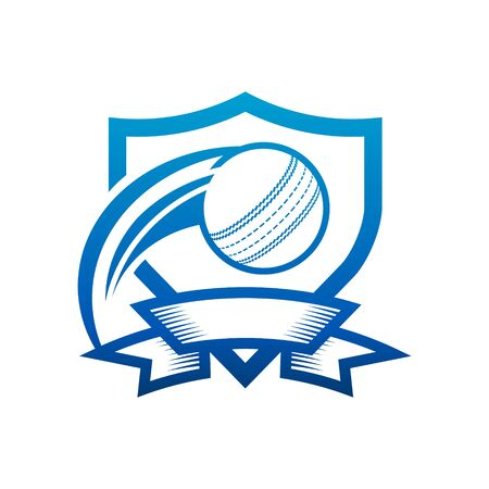 Cricket ball shield badge icon isolated on white