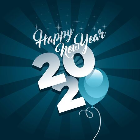 Happy new year 2020 greeting card with blue party balloon