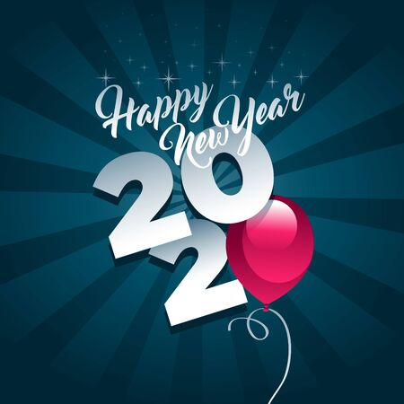 Happy new year 2020 greeting card with pink party balloon