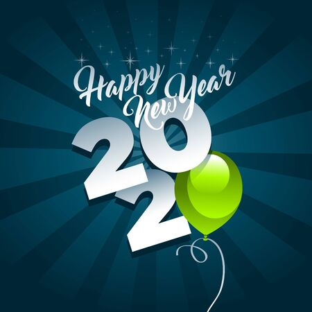 Happy new year 2020 greeting card with green party balloon