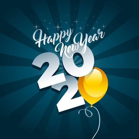 Happy new year 2020 greeting card with yellow party balloon