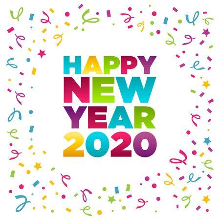 Happy new year 2020 greeting card with confetti Иллюстрация