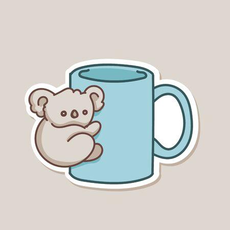 Koala baby bear on coffee mug