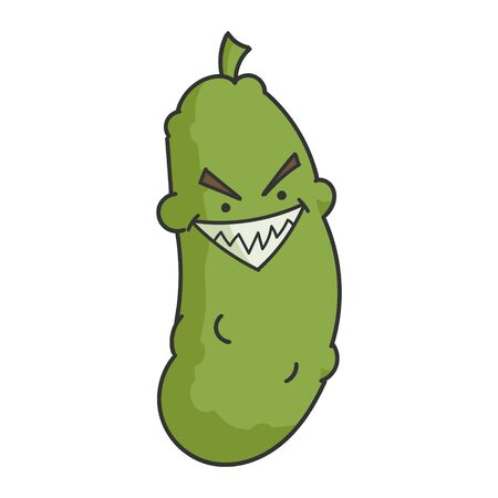Evil Grin Dill Pickle Cartoon