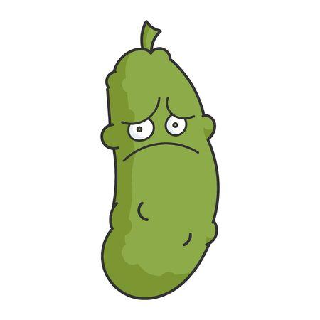 Sad Depress Dill Pickle Cartoon Vektorové ilustrace
