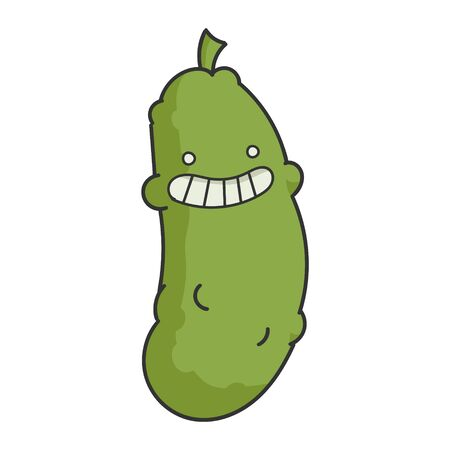Funny Smiling Dill Pickle Cartoon