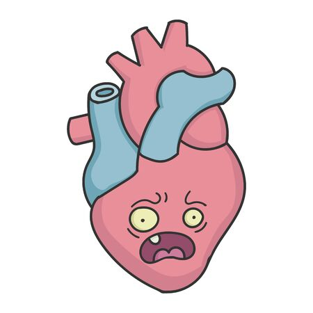 Cartoon Human Heart Having a Heart Attack