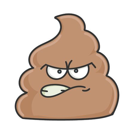 Angry poop cartoon character isolated on white
