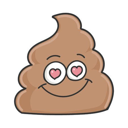 poop cartoon character in love isolated on white