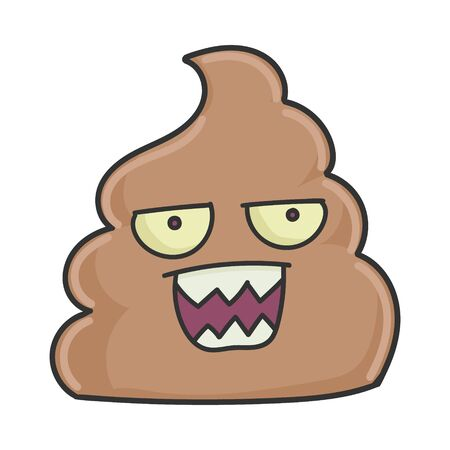 Mad angry poop cartoon character isolated on white