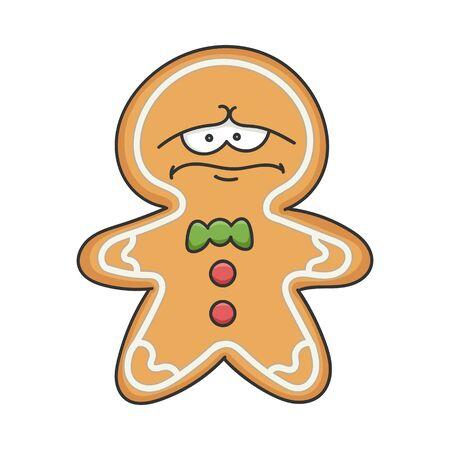 Depress Sad Christmas Holiday Ginger Bread Cookie Cartoon Character