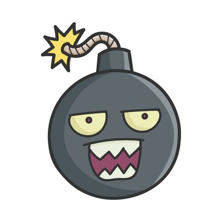 Mad Angry Cartoon Bomb with Burning Wick