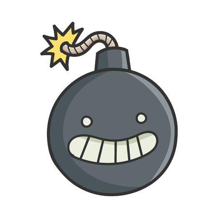 Happy Smiling Cartoon Bomb with Burning Wick Иллюстрация