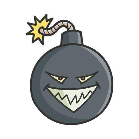 Evil Cartoon Bomb with Burning Wick