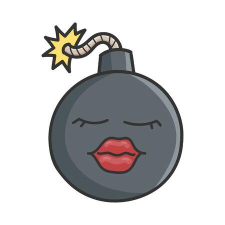 Sexy Lips Cartoon Bomb with Burning Wick