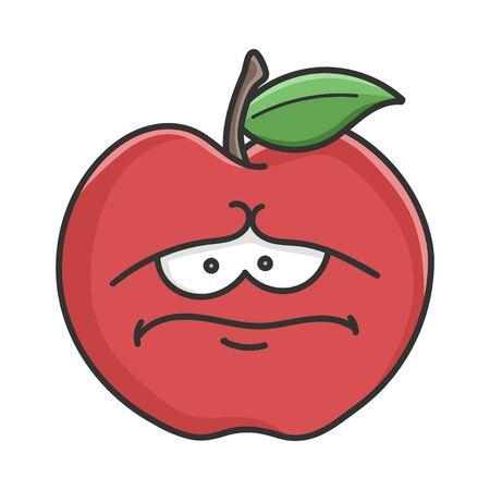Sad red apple cartoon apple isolated on white Illustration