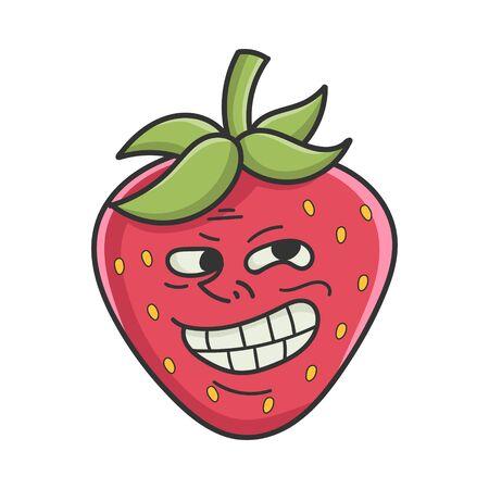 Trolling meme strawberry fruit icon cartoon isolated on white