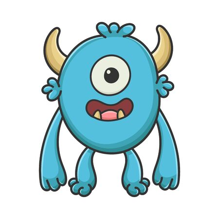 Happy Cyclops cartoon furry creature monster isolated on white Illustration