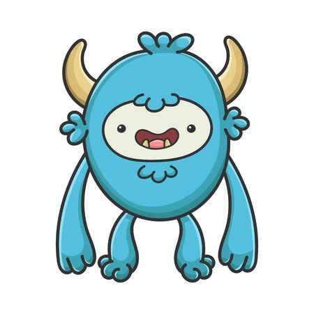 Happy yeti cartoon furry creature monster isolated on white Vector Illustration