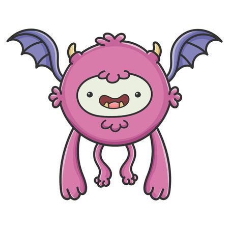 Happy purple flying cartoon bat monster isolated on white