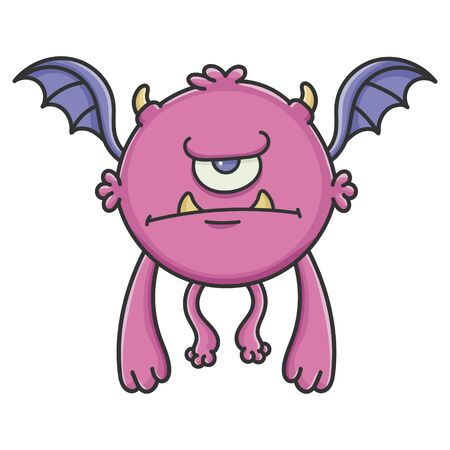 Angry cyclops purple flying cartoon bat monster isolated on white Vectores