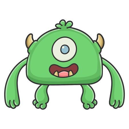 Happy green cyclops goblin cartoon monster isolated on white