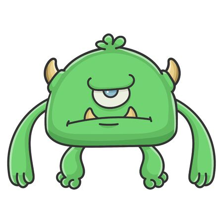 Angry green cyclops goblin cartoon monster isolated on white Illustration