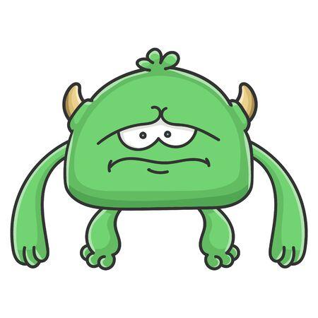 Sad green goblin cartoon monster isolated on white Illustration