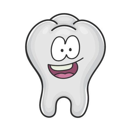 Happy cute smiling tooth cartoon isolated on white Illusztráció
