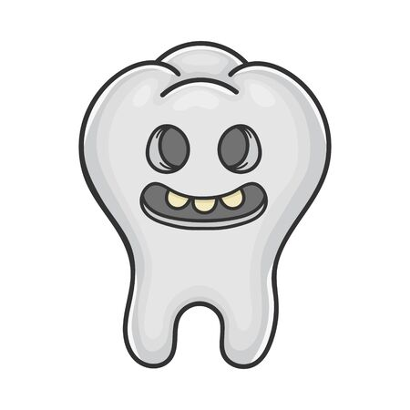 Happy creepy smiling tooth cartoon isolated on white