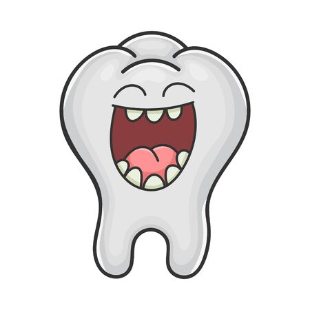 Happy cute laughing tooth cartoon isolated on white