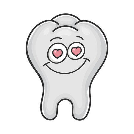 In love cute smiling tooth cartoon isolated on white