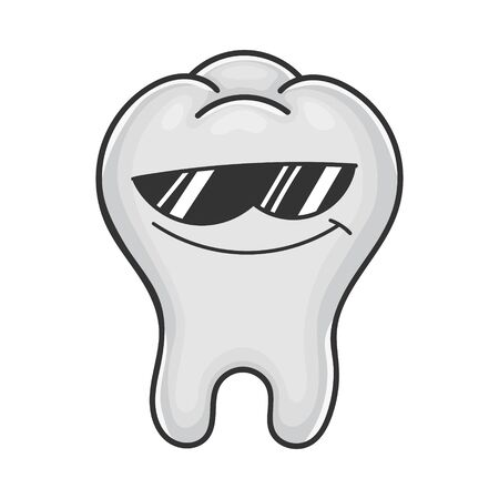 Cool sunglasses tooth cartoon isolated on white