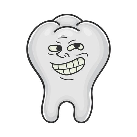 Trolling funny meme tooth cartoon isolated on white