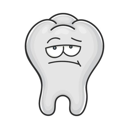Bored unhappy cute tooth cartoon isolated on white
