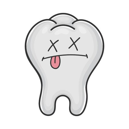 Dead funny cute tooth cartoon isolated on white