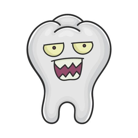 Angry tooth cartoon isolated on white