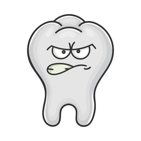Angry funny tooth cartoon isolated on white
