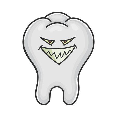 Evil smiling grin tooth cartoon isolated on white Illusztráció