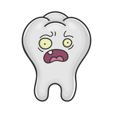 Scared funny tooth cartoon isolated on white