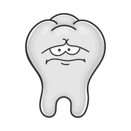 Sad funny tooth cartoon isolated on white
