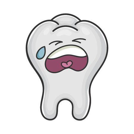 Sad crying funny tooth cartoon isolated on white Vektoros illusztráció