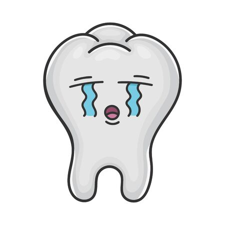 Sad crying funny tooth cartoon isolated on white