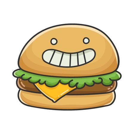 Happy cheese burger cartoon illustration isolated on white Vecteurs
