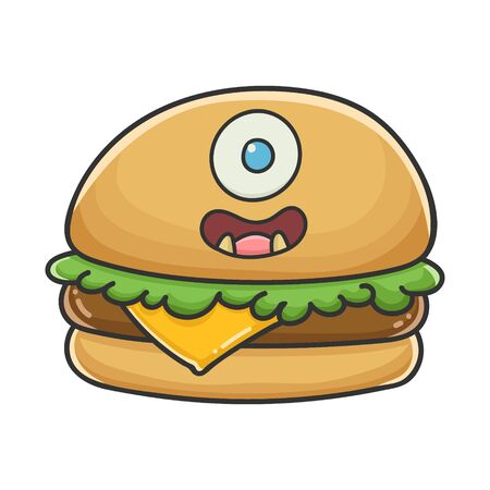Monster smiling cheese burger cartoon illustration isolated on white