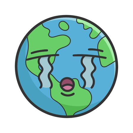 Crying planet earth cartoon illustration isolated on white