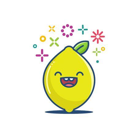 kawaii lemon fruit emoticon cartoon illustration isolated on white Vektorgrafik