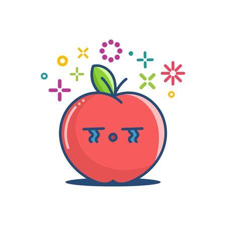 kawaii crying apple emoticon cartoon illustration isolated on white